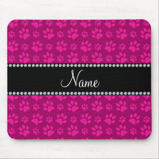 Personalized name pink dog paw prints mouse pad
