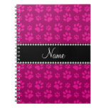 Personalized name pink dog paw prints note book