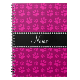 Personalized name pink dog paw prints notebook