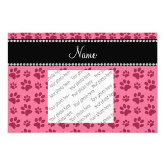 Personalized name pink dog paw prints photograph