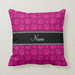 Personalized name pink dog paw prints pillow