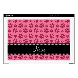 Personalized name pink dog paw prints laptop decal