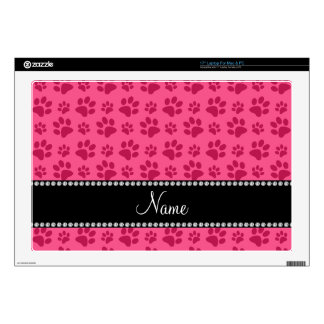 """Personalized name pink dog paw prints decals for 17"""" laptops"""