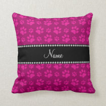 Personalized name pink dog paw prints throw pillow