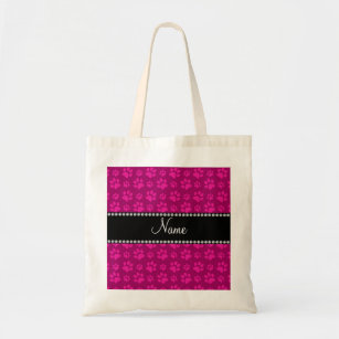 Personalized Name Pink Dog Paw Prints Tote Bag