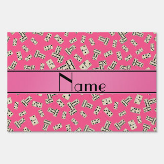 Personalized name pink dominos yard sign