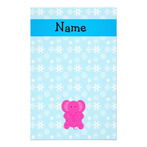 Personalized name pink elephant blue snowflakes personalized stationery