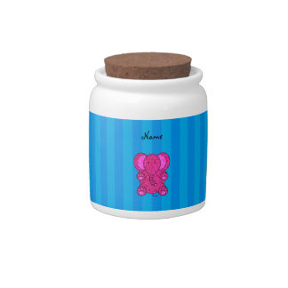 Personalized name pink elephant blue stripes candy jars