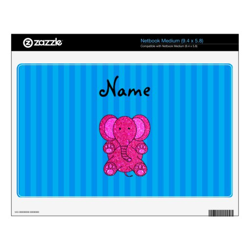 Personalized name pink elephant blue stripes netbook decals