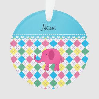 Personalized name pink elephant colorful argyle