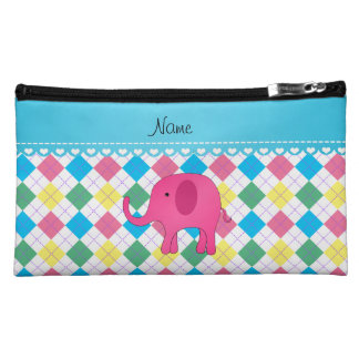 Personalized name pink elephant colorful argyle cosmetic bag