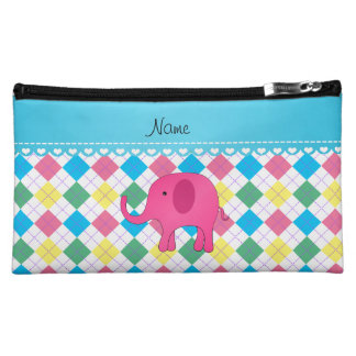 Personalized name pink elephant colorful argyle makeup bags