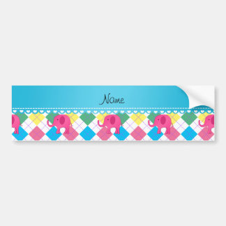 Personalized name pink elephant colorful argyle bumper stickers