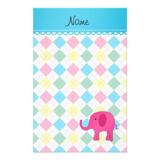 Personalized name pink elephant colorful argyle stationery design