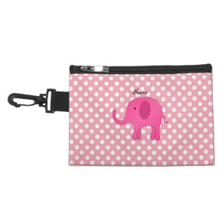 Personalized name pink elephant pink polka dots accessory bags