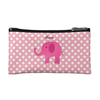 Personalized name pink elephant pink polka dots cosmetic bag