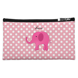 Personalized name pink elephant pink polka dots cosmetics bags