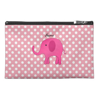 Personalized name pink elephant pink polka dots travel accessory bag