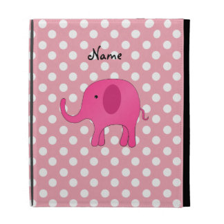 Personalized name pink elephant pink polka dots iPad folio cases