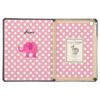 Personalized name pink elephant pink polka dots iPad air cover