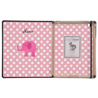 Personalized name pink elephant pink polka dots cover for iPad