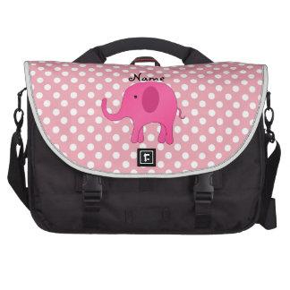 Personalized name pink elephant pink polka dots laptop messenger bag