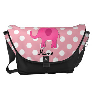 Personalized name pink elephant pink polka dots courier bags