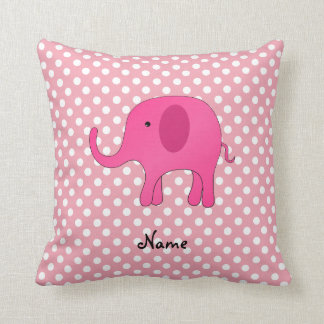 Personalized name pink elephant pink polka dots throw pillows
