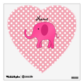 Personalized name pink elephant pink polka dots wall sticker