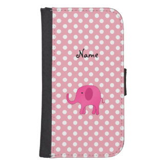 Personalized name pink elephant pink polka dots wallet phone case for samsung galaxy s4