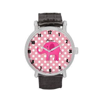 Personalized name pink elephant pink polka dots wrist watch