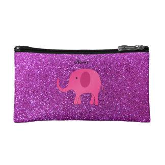 Personalized name pink elephant purple glitter makeup bag