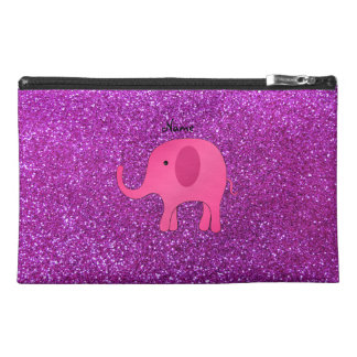 Personalized name pink elephant purple glitter travel accessory bag