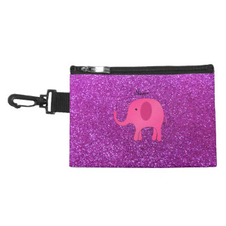 Personalized name pink elephant purple glitter accessories bag