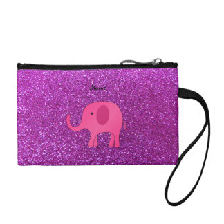 Personalized name pink elephant purple glitter coin wallet