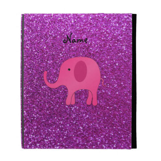 Personalized name pink elephant purple glitter iPad cases
