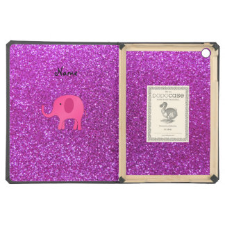 Personalized name pink elephant purple glitter case for iPad air
