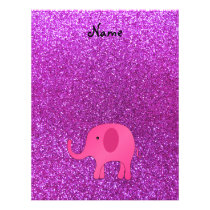 Personalized name pink elephant purple glitter flyer