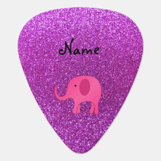 Personalized name pink elephant purple glitter pick