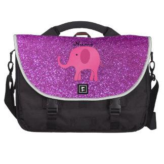 Personalized name pink elephant purple glitter laptop commuter bag