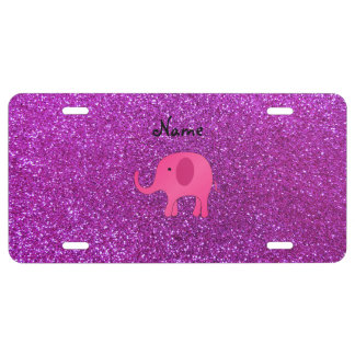 Personalized name pink elephant purple glitter license plate