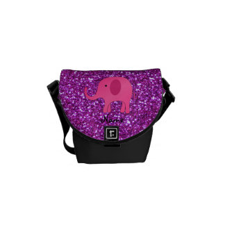 Personalized name pink elephant purple glitter courier bag