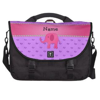 Personalized name pink elephant purple hearts laptop messenger bag
