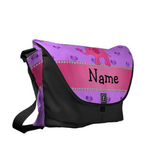 Personalized name pink elephant purple hearts messenger bags