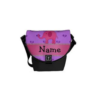 Personalized name pink elephant purple hearts messenger bag