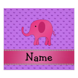Personalized name pink elephant purple hearts print