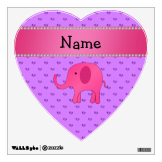 Personalized name pink elephant purple hearts wall decor