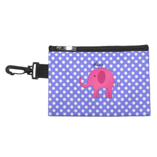 Personalized name pink elephant purple polka dots accessories bag