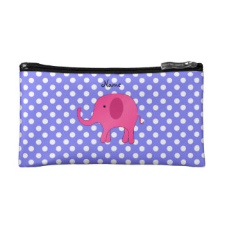 Personalized name pink elephant purple polka dots cosmetic bag