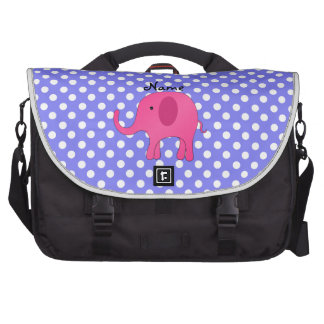 Personalized name pink elephant purple polka dots commuter bags